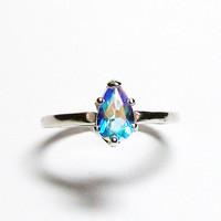 "Rainbow topaz, topaz ring, pink green ring, rainbow topaz ring, pear engagement , solitaire ring, s 7 ""Vegas Lights"""