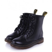 Black Lace Up Flat Boots with Nap Lining and Pull Tag