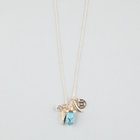 Full Tilt Turquoise/Wing/Horn Charm Necklace Gold One Size For Women 24279562101