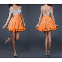 Amazon.com: Ladies Silver Sequins and Orange Chiffon Short Bridesmaids' Cocktail Ball Evening Party Dress: Everything Else