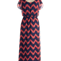 Miracle Maxi Dress in Coral and Navy