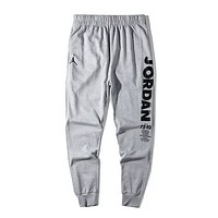 NIKE Jordan New fashion letter people print couple pants Gray