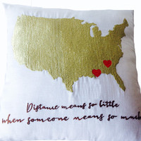 Ivory Linen -US Map Heart Pillow -Typographer Pillow -Long Distance Relationship Pillow -16x16 -Family Gift -Valentine -Wedding -Engagement