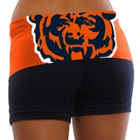 Chicago Bears Ladies Sublime Knit Shorts - Navy Blue/Orange