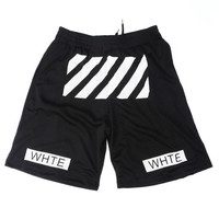 Off White Shorts in Black Mesh