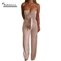 Sexy Off The Shoulder Bandage Bow Rompers Women Jumpsuit Combinaison Femme Summer Overalls   Elegant Bodycon Jumpsuits