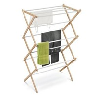 Honey-Can-Do DRY-01111 Wooden Clothes-Drying Rack, White/Natural