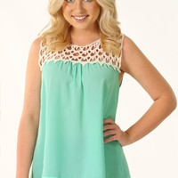 Hang In There Top: Mint/Ivory - Blouses - Tops