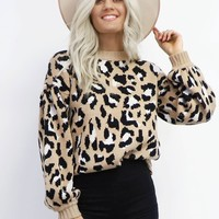 Seeking You Mocha Leopard Print Sweater
