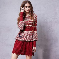 Women pullovers autumn winter bohemian boho long sleeve o neck geometric print dress sweater vestidos YB14254C