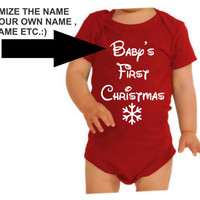 Baby's First Christmas Onesuit One sie Customize with your own Name BodySuit Super Cute for your little ones very first Christmas New Born