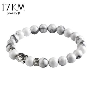 17KM Natural Stone Silver Color Buddha Charm Bracelet Tiger Eye Beads Bracelets For Women and Men Fashion Jewelry mujer pulseras