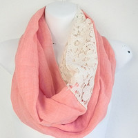 Coral Lace Infinity Scarf, Spring scarves, Light weight scarf, LACE scarf, Scarves, Infinity scarf, Coral scarf, Fashion Scarf, Women scarfs