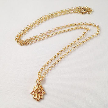 18K Gold Plated Hamsa Necklace