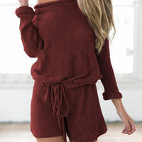 Burgundy  Red Long Sleeve Lace Up Playsuit