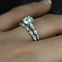 Helena 14kt White Gold Thin 1ct Round FB Moissanite and Diamonds Wedding Set (Other metals and stone options available)