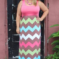 """Hello Charlie"" Chevron Maxi Dress - Pink ~ Sizes 12-18"