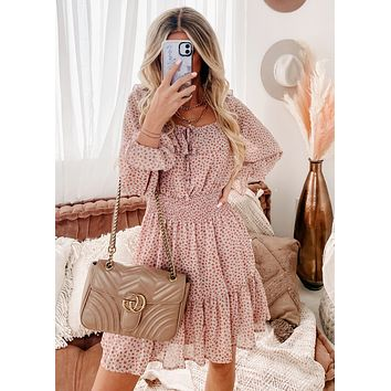 Stop & Smell The Roses Square Neck Ruffle Dress (Dusty Pink/Multi)