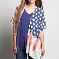 American Flag Knit Printed Open Cardigan