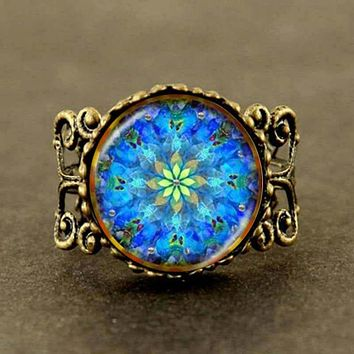 2017 New Collares Collier Flower Mandala Ring Charm Indian Jewelry Zen Long Ring Statement