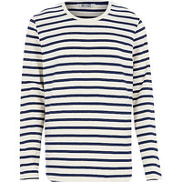 River Island MensNavy Only & Sons stripe long sleeve t-shirt