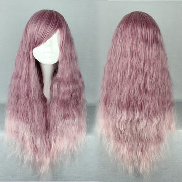 long Curly Heat Resistant Synthetic purple Cosplay Wig lolita wig,New Highlight Ombre Colorful Candy Colored synthetic Hair Extension Hair piece 1pcs WIG-468A