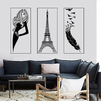Wall Sticker Paris Eiffel Tower Feather Romantic Sexy Hot Girl Model Unique Gift z2855