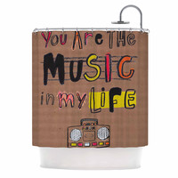 """MaJoBV """"Music In My Life"""" Brown Quote Shower Curtain"""