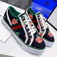 Gucci Shoes Women Strawberry Double G Flat Shoes Canvas Sneakers Black