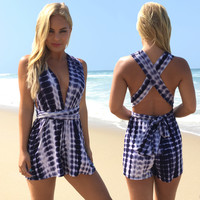 Tie Dye Wave Romper In Navy
