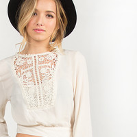 Gauze Cropped Crochet Detail Top - Small