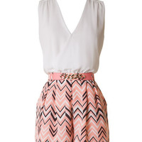 Chevron Sleeveless Romper - Coral