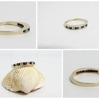 Vintage Ring: 14k Gold Band with Sapphires and Diamonds