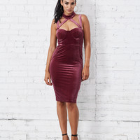 Femme Fatale Velvet Collar Bustier Bodycon Midi Dress