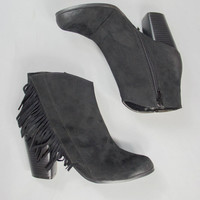 Fringe With Benefits Bootie In Black