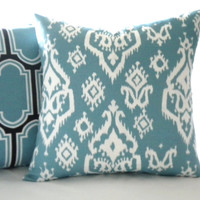 Blue and white ikat print pillow, fabric both sides, all sizes available