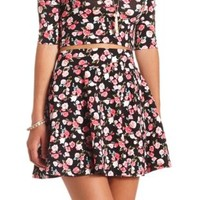 Floral Print High-Waisted Skater Skirt by Charlotte Russe - Pink