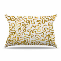 """Anneline Sophia """"Squiggles in Gold"""" Yellow White Pillow Case"""