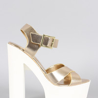 Dollhouse Metallic Cross Straps Platform Heel