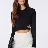 Missguided - Long Sleeve Cut Out Crop Top Black