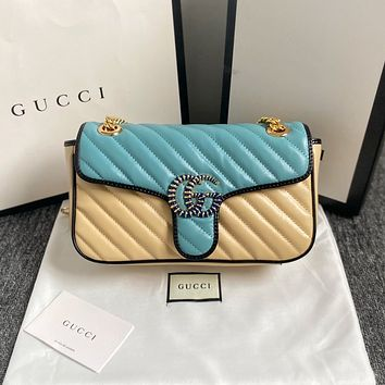 Gucci Women's Leather Shoulder Bag Satchel Tote Bags Crossbody26*7*15cm 07170yph