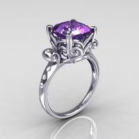 Modern Antique 950 Platinum 2.6 Carat Emerald Cut Alexandrite Diamond Solitaire Ring R166-PLATDAL