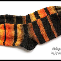 Irregularity -  Size EU36/39 US5/8 striped socks in black,  orange, yellow, brown, hand knitted and soft