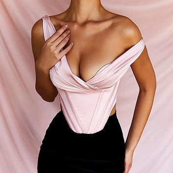 2020 new sexy solid color women's deep V stretch vest