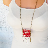 Red coral ladder necklace ladder long bohemian structural statement necklace layering necklace modern tribal indie style red boho jewelry