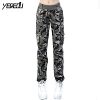 #0904 2017 Summer Camouflage pants women Cargo pants women Military trousers Fashion Casual Loose Baggy pants Army women S-XXXL