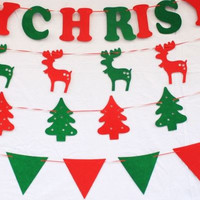 Merry Christmas Elk Bunting Banner Garland Hanging Flags Party Xmas 2016 Tree Hanging Ornaments Decorations Best Gift