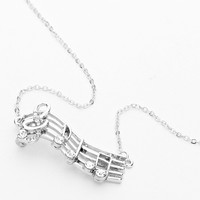 Music Note Bar Necklace Silver