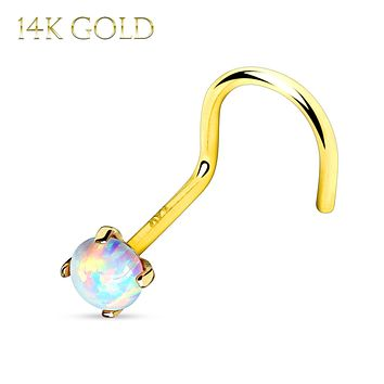 Nose Screw 14Kt. Gold Prong Set Opal Stone Top 20G Body Jewelry