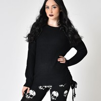 Black Ribbed Knit Lace Up Long Sleeve Sweater